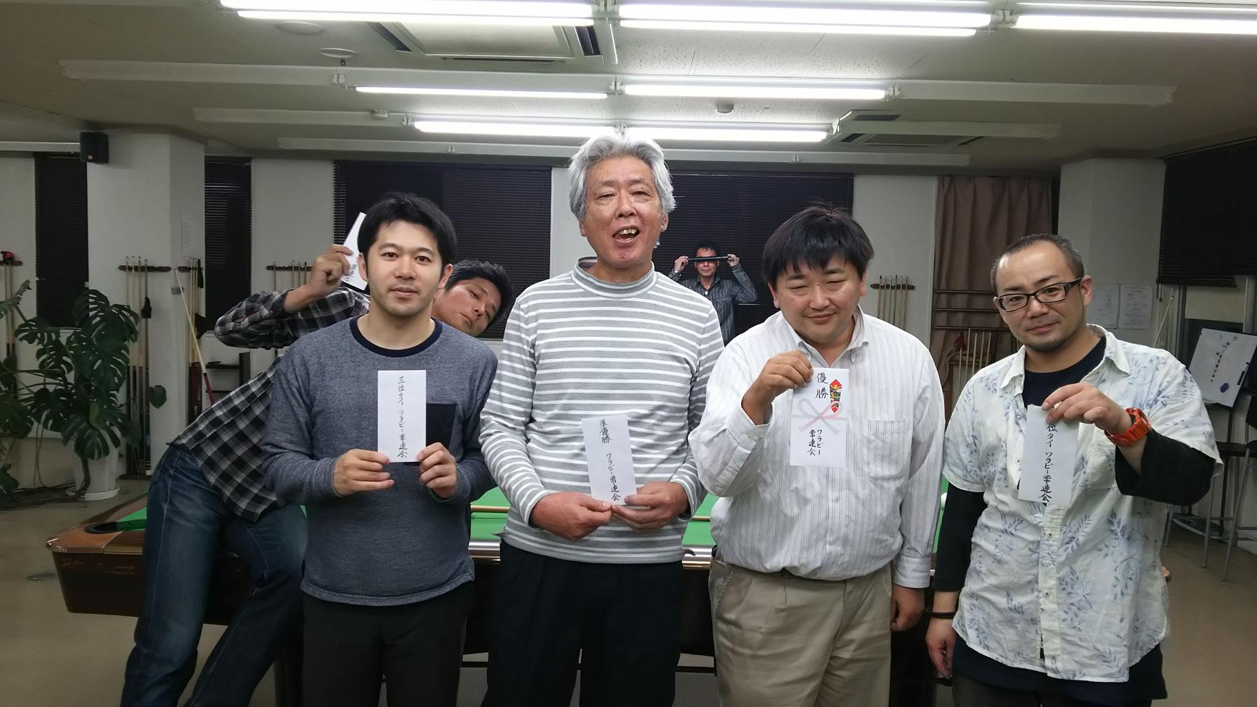 3位タイは、平松さん・永藤さん。平松さんは次の日に公式戦もあってか気合充分??でのぞんでそつなく突いていた印象でした。今日の試合は負けてしまったみたいですが。。永藤さんは上位の常連ですが、何故か8番・9番になると外してしまう病になっているようで。。頑張れ!永藤!負けるな永藤!敗者側優勝は北村さん(後ろからひょっこり顔出している方)意外と初参加。さすが何か持って帰る!おめでとうございます。後ろに写っている少年Bみたいなおっさんは無視してください。