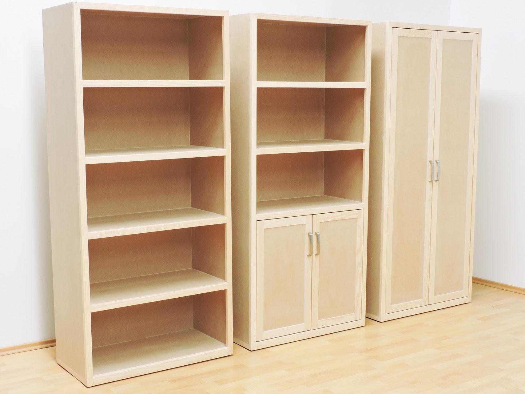 Libreros muebles gm muebles de madera for Puertas con madera reciclada