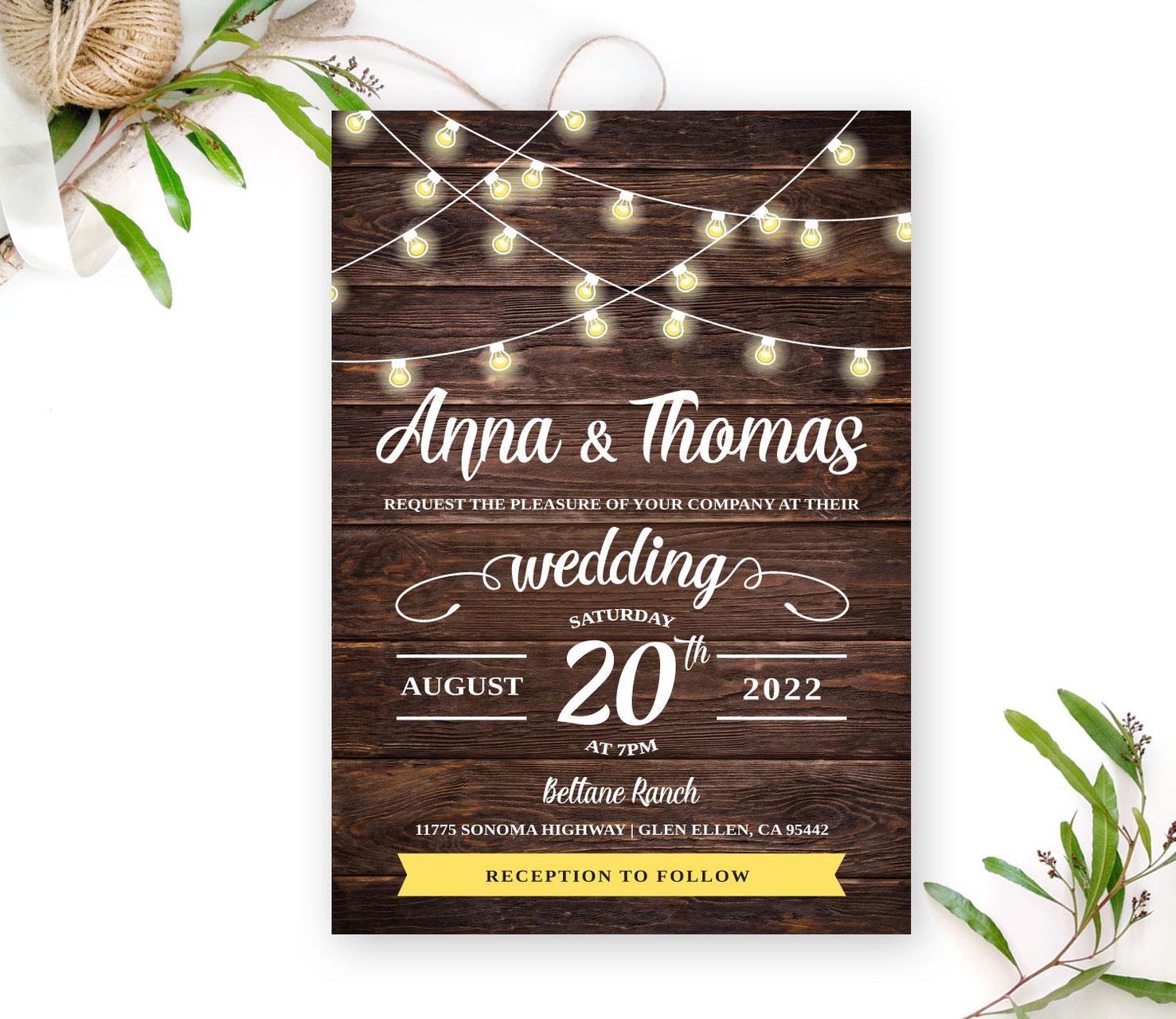 d4f214bcf1ac3 Simple Rustic Wedding Invitation