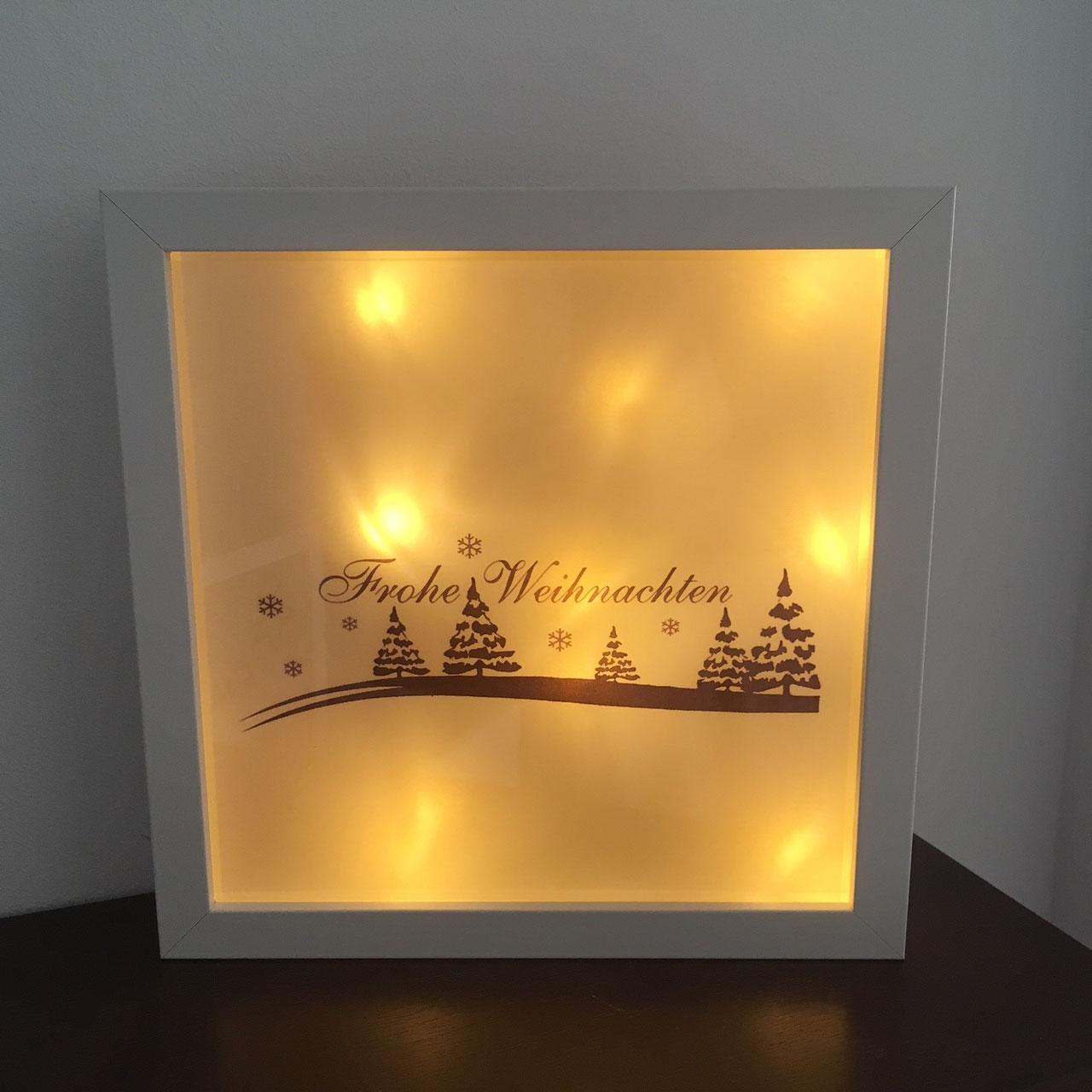 led bilderrahmen frohe weihnachten sch nes aus wolle. Black Bedroom Furniture Sets. Home Design Ideas