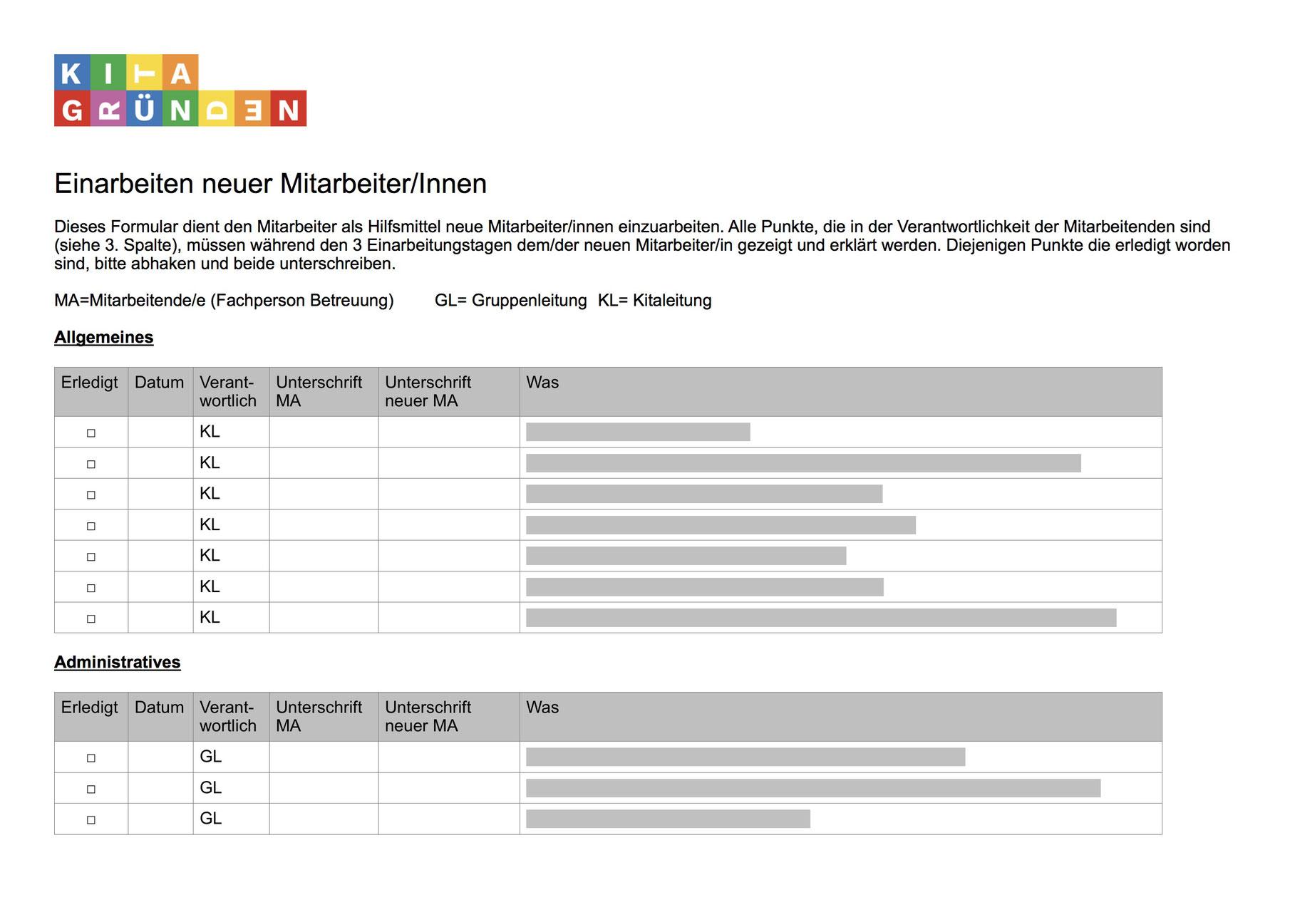 Dokumentvorlagen für die Kita   Kitagründen.ch