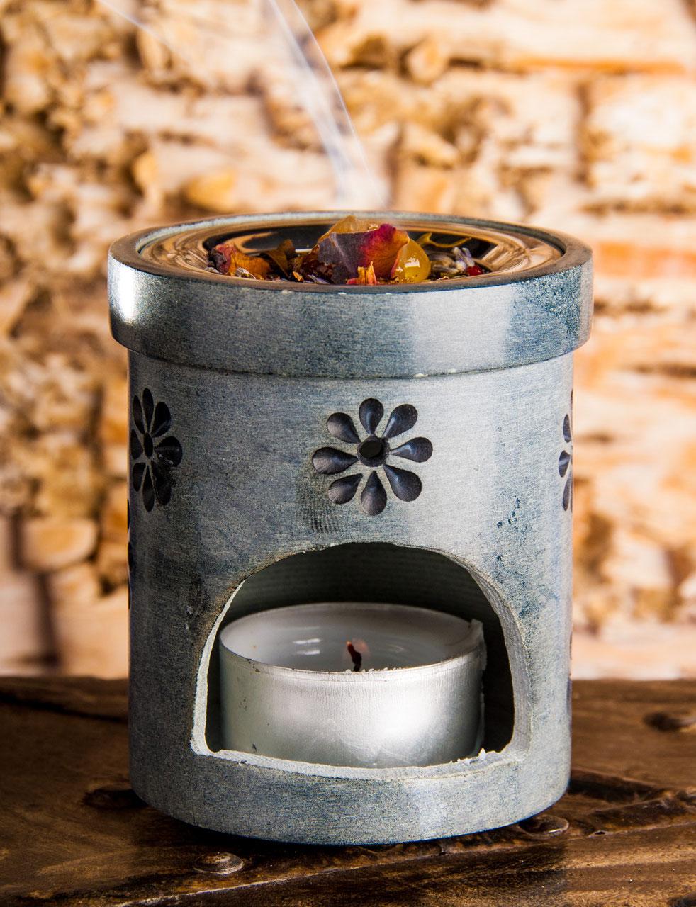 aus Ton 8cm Durchmesser Flamme Räucherstövchen mit Sieb