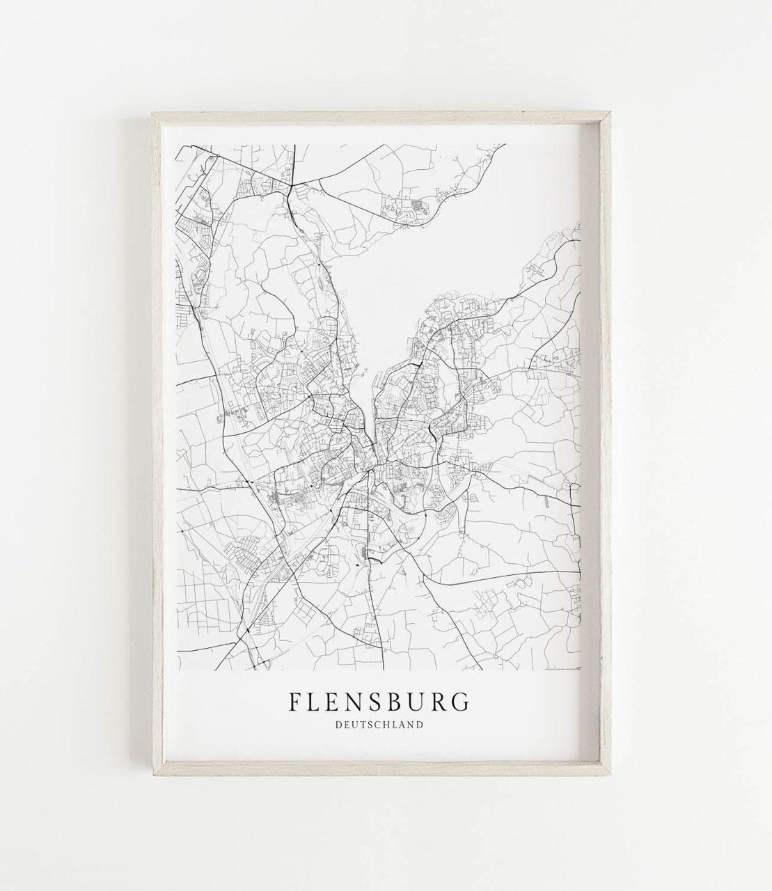 Flensburg Karte Als Poster Im Skandinavischen Stil Postermaps