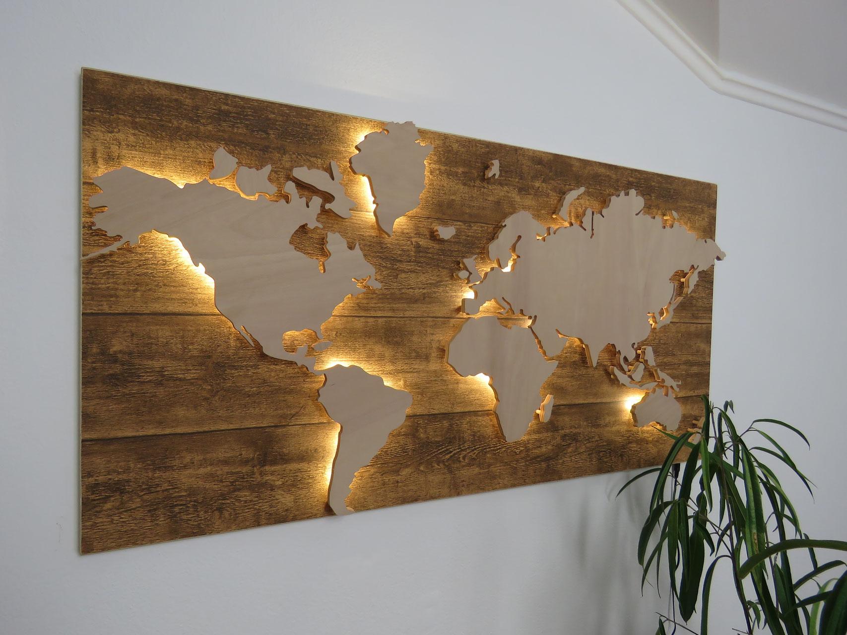 Weltkarte Hintergrund Holz Dekor Wintini At