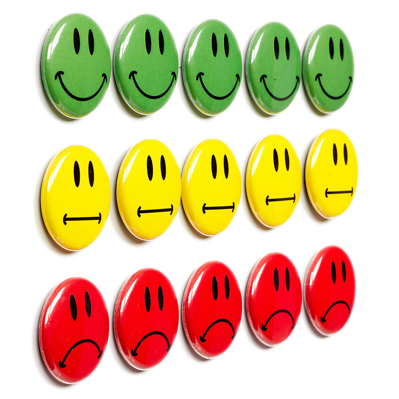 30 bunte Smileys Magnete ø 2 - 10cm
