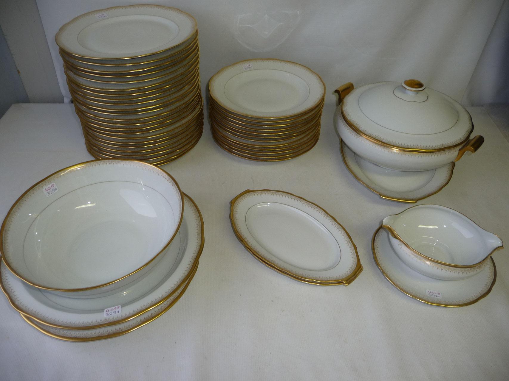 Service de table porcelaine limoges service de table en porcelaine 2011040054 expertissim - Service de table noir ...