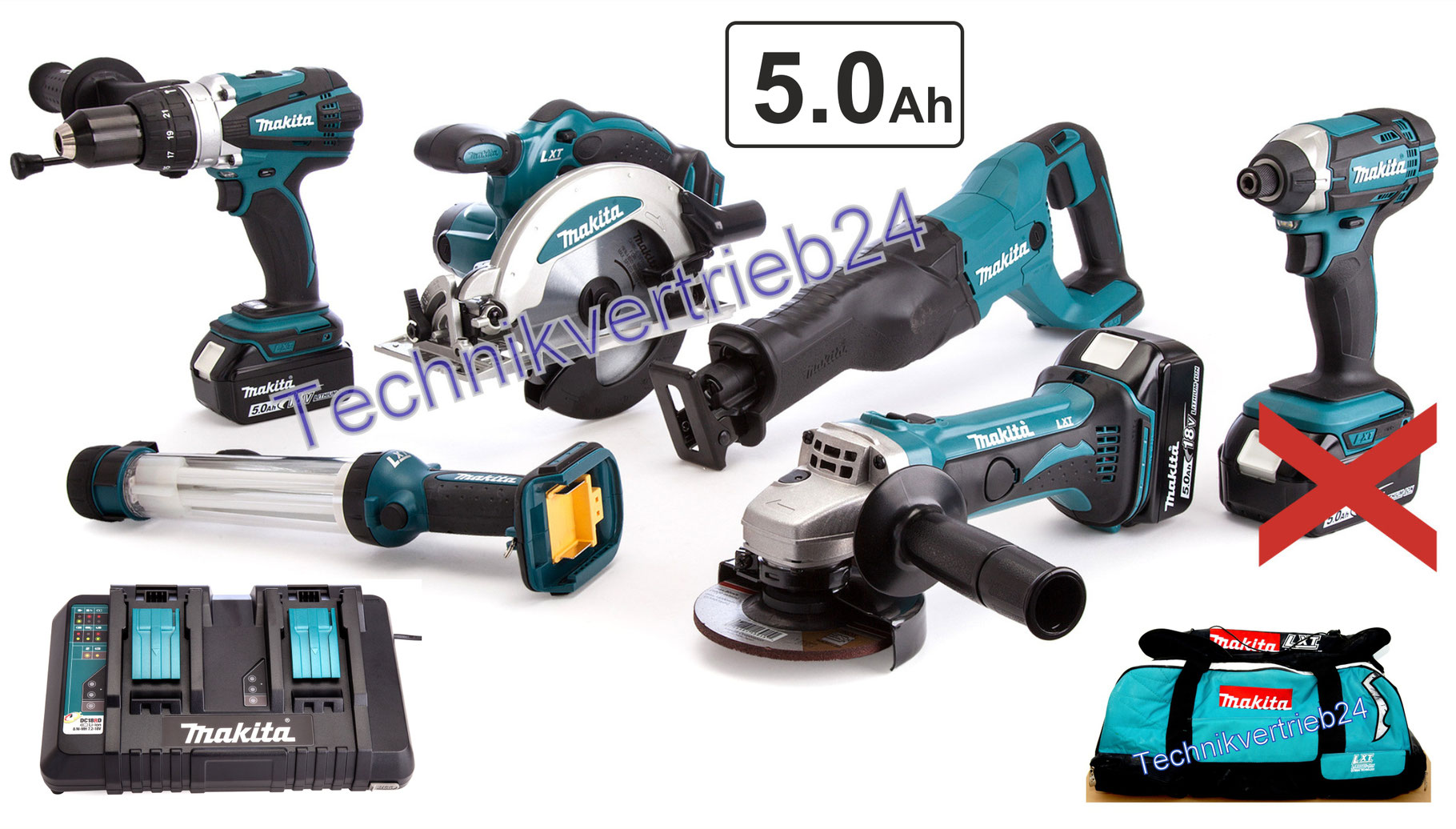 makita 6er 18v set mit 2x bl1850b akku u. Black Bedroom Furniture Sets. Home Design Ideas