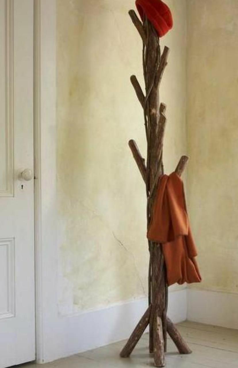 Perchero de tronco - Percheros de madera rusticos ...