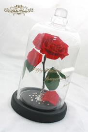 ディズニー 美女と野獣 一輪の薔薇 ガラスドーム 誕生日 フラワーギフト  スワロフスキー