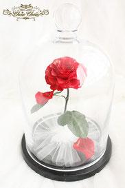 美女と野獣 一輪の薔薇 ガラスドーム  プリザーブドフラワー ホテル日航 オーダーフラワー シュシュ chouchou