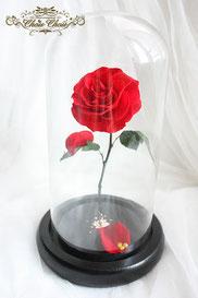 プロポーズ ミラコスタ プリザーブドフラワー 一輪の薔薇 ガラスドーム  美女と野獣 オーダーフラワー シュシュ chouchou