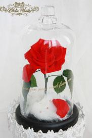 美女と野獣 1輪のバラ ガラスドーム ディズニー プロポーズ ウェディング プリザーブドフラワー