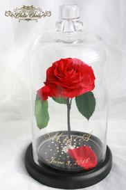 美女と野獣 1輪のバラ ガラスドーム プリザーブドフラワー ディズニープロポーズ  スワロフスキー