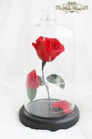プレゼント 美女と野獣 一輪の薔薇 ガラスドーム  刻印  オーダーフラワーシュシュ chouchou