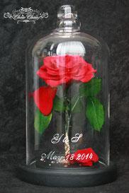 ディズニー 美女と野獣 一輪の薔薇 ガラスドーム サプライズ プレゼント 結婚式 ウェディングフラワーギフト