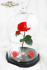 プロポーズ 赤薔薇 一輪の薔薇 ガラスドーム  ガラスの靴 リングピロー スワロフスキー プリザーブドフラワー ゴールド 刻印 オーダーフラワー  シュシュ
