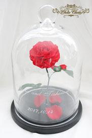 ウェディング 美女と野獣 装花 ガラスドーム  プリザーブドフラワー 一輪の薔薇 オーダーフラワー  シュシュ chouchou