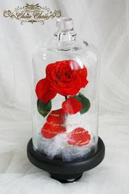 美女と野獣 薔薇 ガラスドーム ディズニー プロポーズ 刻印 オルゴール