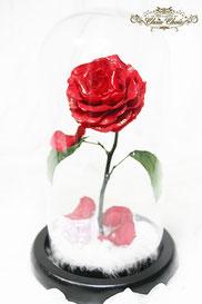 ディズニー  プロポーズ 美女と野獣 ミラコスタ オチェーアノ 一輪の薔薇 ガラスドーム  リングホルダー  リングケース オーダーフラワー シュシュ chouchou