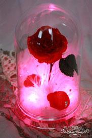ディズニー 美女と野獣 一輪の薔薇 光る LED ドームアレンジ フラワーギフト