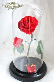 誕生日 プレゼント 一輪の薔薇 ガラスドーム  美女と野獣 プリザーブドフラワー オーダーフラワー シュシュ ChouChou