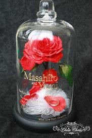 ディズニー 美女と野獣 一輪の薔薇 ガラスドーム リングホルダー フラワーギフト
