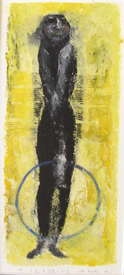 Woman with Circle  27×12cm Oil on paper   1992