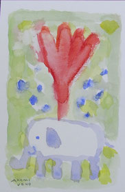Flowering elephant   14×9cm   Watercolor on paper   2014
