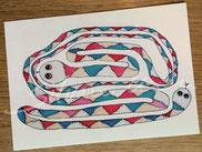 Postkarte mit Illustration Schlange mit zwei Köpfen von silvanillion
