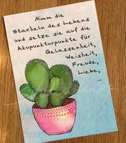 Postkartendruck mit Kaktus-Illustration und Spruch von silvanillion