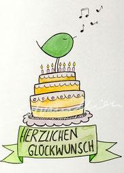 Individuelle Glückwunschkarte mit Illustration Piepmatz auf Geburtstagstorte von silvanillion