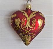 Christbaumkugel aus Glas Herz rot-gold 3,50 €