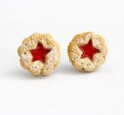 miniature food marmeladenkeks ohrstecker fimo handmade weihnachten candy schmuck ohrringe