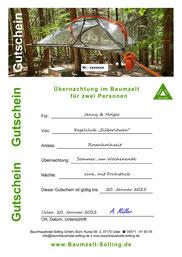 Gutscheine für eine oder zwei Übernachtungen im Baumzelt Solling