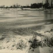 Oude foto zwart-wit. Bevroren ondergelopen weide.