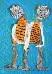Mme et Mme 3: Papier, Acryl im Bildkasten, 35 x 25 cm, 2015