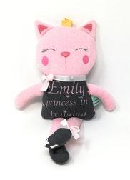 Schnüffel- Tuch Katze, bestickt mit Spruch, aus rosa Nicki und grauen Jersey, 20cm