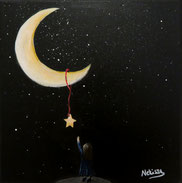Japanese Nihonga painting surreal artwork for your home art for sale a little girl standing at the edge at night the stars are shining she is reaching for the moon and a yellow star over her heard reaching for her dreams