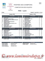 Feuille de match  PSG-Lyon  2015-16
