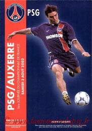 Programme  PSG-Auxerre  2002-03