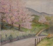 山際の桜  水彩10号