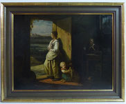 Johannes Engel Masurel (1826-1915), Öl auf Holz, Junge Frau mit Kind und Hund , € 3500,00