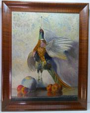 Jagdtstillleben, Fasan, Apfel und Vase, Mahagoni Rahmen, Öl auf Leinwand , € 320,00
