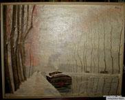 Winterliche Flusslandschaft Ölgemälde von Lehage (19)16., € 1100,00
