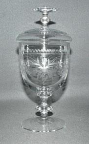 Historismus, Deckelglas, Bonboniere, mundgeblasen, fein geschliffen, 20,0 cm , € 225,00