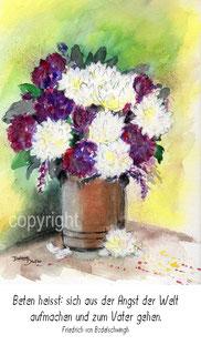 Blumentopf lila weiss