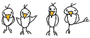 sketch of four whimsical little birds looking at you, one is dancing