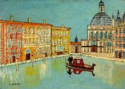 Louis VIVIN Venise canal scène avec une église art naïf
