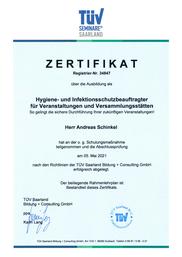 TÜV Zertifikat hygiene und Sicherheitsbeauftragte