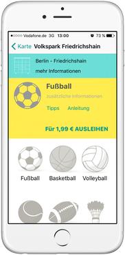 Bild: Share-Sports App Auswahl
